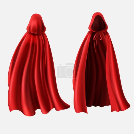 Vector realistic set of red cloaks with hoods