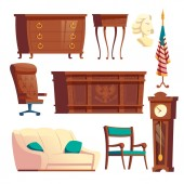President oval office furniture cartoon vector set