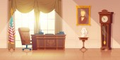 US President office interior cartoon vector