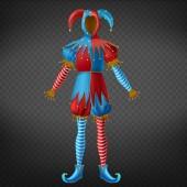 Joker motley empty costume 3d realistic vector