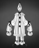 Sad harlequin costume 3d realistic vector