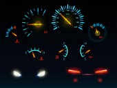 Car glowing indicators and headlights vector set