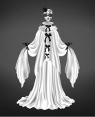Female pierrot character suit 3d realistic vector