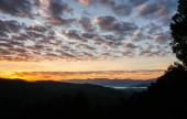 dawn and sunrise in the Appalachians of western North Carolina on a late autumn day