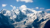 mountain landscape in the French Alps near CHamonix with Mont Blanc in the background