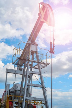 Oil and natural gas production tower with bright s...