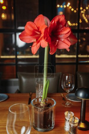 Photo for Vase with bouquet of flowers on table in restaurant - Royalty Free Image