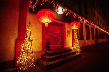 Photo for Chinese restaurant entrance with authentic lanterns and lights - Royalty Free Image