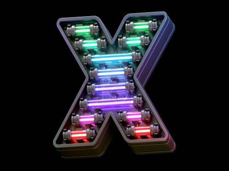 Photo pour Fonte Multicolor light neon. - image libre de droit