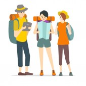 Cartoon Characters Young People Travel Set Vector