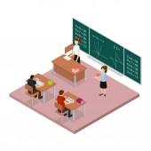 School Education Concept 3d Isometric View. Vector