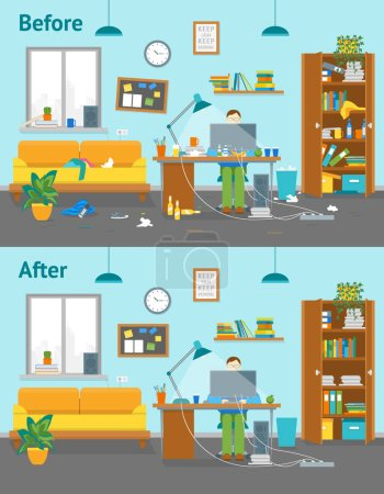 Illustration for Cartoon Man at Workplace Horizontal Card Poster Creative Workspace in House Clutter Concept Element Flat Design Style. Vector illustration - Royalty Free Image