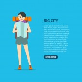 Cartoon Character Young Woman Travel Card Vector