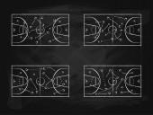 Black Chalkboard with Basketball Background Card Set Vector