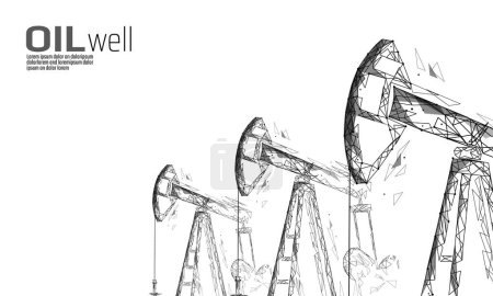 Oil well rig juck low poly business concept. Finan...