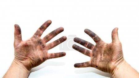 Photo for A picture of dirty hands of a man, soiled by oil and  vaseline. Isolated on a white background. - Royalty Free Image