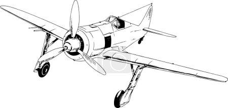 Illustration pour Jet de chasse militaire dessiné à l'encre à la main en pleine croissance sur fond blanc - image libre de droit