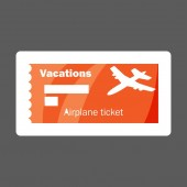 Vector icon colored sticker airplane ticket vacation Layers grouped for easy editing illustration For your design