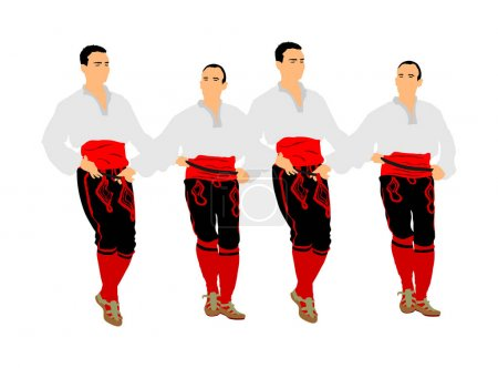 Balkan dancers vector illustration isolated on whi...