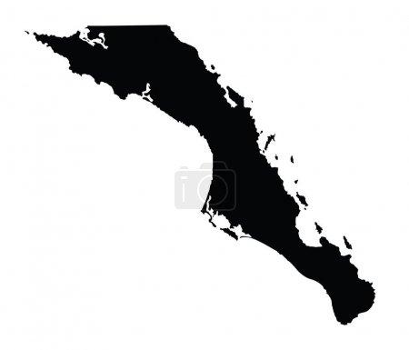 Illustration pour Baja California Sur, Mexique, silhouette de carte vectorielle isolée sur fond blanc. Illustration haute silhouette détaillée . - image libre de droit