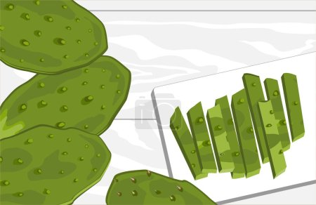 Illustration for Nopal cactus paddle, peeled and cut, with prickly pear fruit. National Mexican cuisine food ingredient. Hand drawn cartoon style vector illustration. - Royalty Free Image