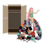 Nothing to wear concept young attractive stressed woman seating in a pile of messy clothes gotten out of closet Vector illustration