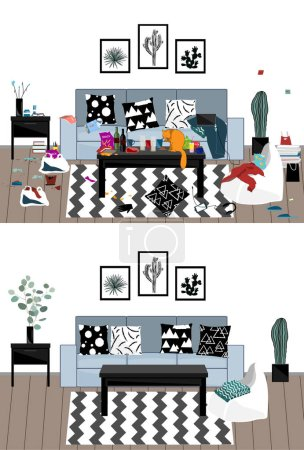 Illustration for Interior illustration when the party is over and after the cleaning. Messy room with garbage, messy things and clothihg, and food, and the clean room. Vector illustration - Royalty Free Image