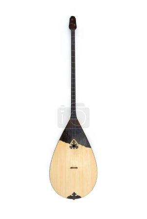 Photo pour Dombyra instrument de musique national kazakh isolé sur fond blanc, vue de face - image libre de droit