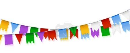 Illustration pour Guirlandes vectorielles. Décoration de vacances. Ensemble de guirlandes en papier coloré. Guirlandes de drapeaux . - image libre de droit