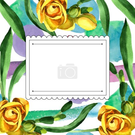 Colorful freesia. Floral botanical flower.Frame border ornament square. Aquarelle wildflower for background, texture, wrapper pattern, frame or border.