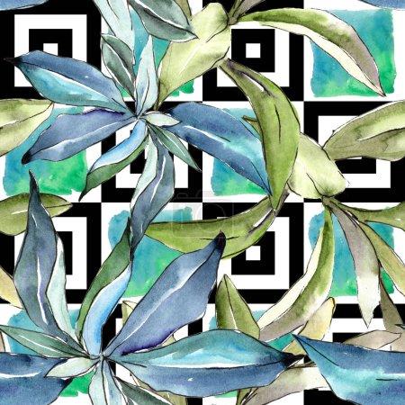 Elaeagnus hojas en un estilo acuarela. Patrón de fondo sin costuras. Textura de impresión de papel tapiz de tela. Hoja de acuarela para fondo, textura, patrón de envoltura, marco o borde .