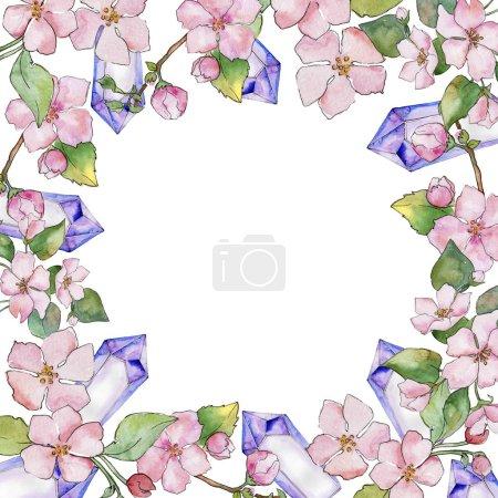 Photo pour Des fleurs de cerisier rose. Floraison botanique florale.Cadre bordure ornement carré. Aquarelle fleur sauvage pour fond, texture, motif d'emballage, cadre ou bordure . - image libre de droit