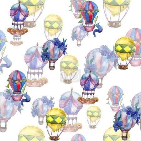 Hot air balloons background fly air transport illustration. Seamless background pattern. Fabric wallpaper print texture.