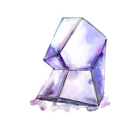 Purple diamond rock jewelry mineral. Isolated illustration element. Geometric quartz polygon crystal stone mosaic shape amethyst gem.