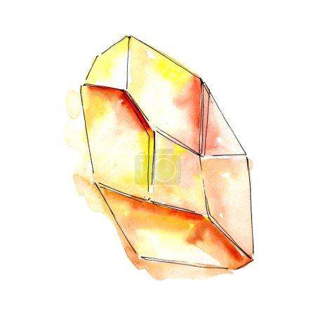 Orange diamond rock jewelry mineral. Isolated illustration element. Geometric quartz polygon crystal stone mosaic shape amethyst gem.
