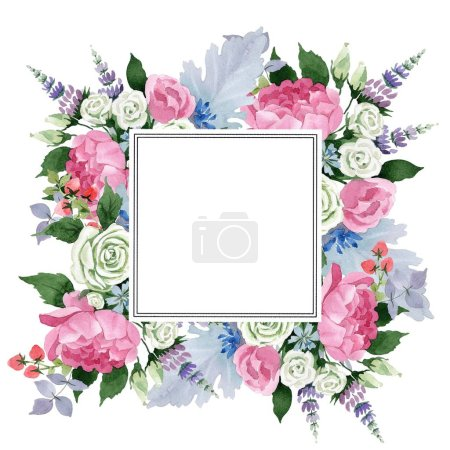 Photo for Pink bouquet flowers. Floral botanical flower. Frame border ornament square. Full name of the plant: rose, peony. Aquarelle wildflower for background, texture, wrapper pattern, frame or border. - Royalty Free Image