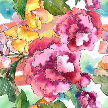 Photo pour Fleur de gardania rose et jaune. Fleur botanique florale. Modèle de fond sans couture. Texture d'impression de papier peint tissu. Aquarelle fleur sauvage pour fond, texture, motif d'emballage, cadre ou bordure . - image libre de droit