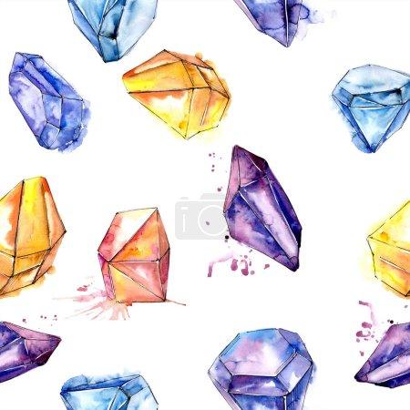 Colorful diamond rock jewelry mineral.Seamless background pattern. Fabric wallpaper print texture. Geometric quartz polygon crystal stone mosaic shape amethyst gem.