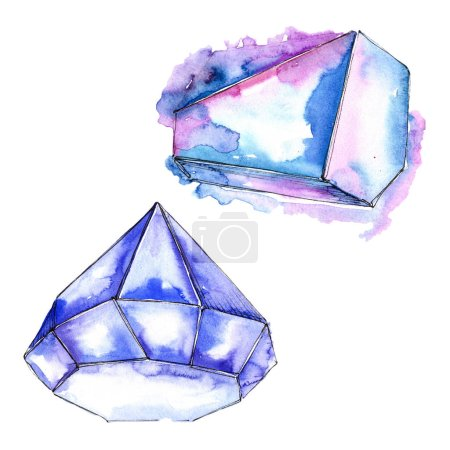 Blue diamond rock jewelry mineral. Isolated illustration element. Geometric quartz polygon crystal stone mosaic shape amethyst gem.