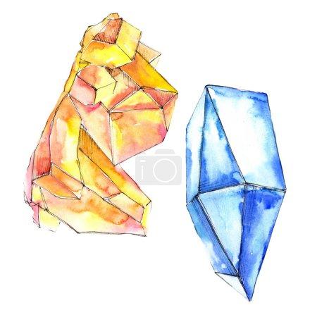 Orange and blue diamonds rock jewelry mineral. Isolated illustration element. Geometric quartz polygon crystal stone mosaic shape amethyst gem.