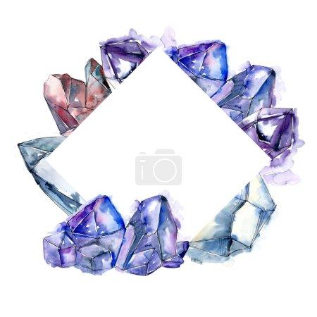 Blue diamond rock jewelry mineral. Frame border ornament square. Geometric quartz polygon crystal stone mosaic shape amethyst gem.