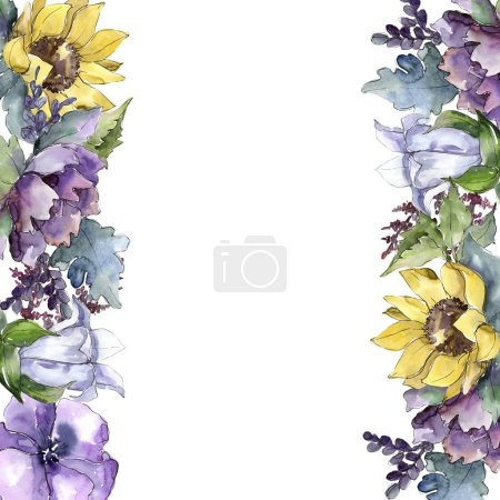 Photo for Watercolor bouquet flowers. Floral botanical flower. Frame border ornament square. Full name of the plant: sunflower,peony,flax. Aquarelle wildflower for background, texture, frame or border. - Royalty Free Image