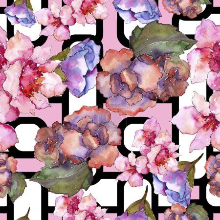 Photo for Pink and purple gardania. Floral botanical flower. Seamless background pattern. Fabric wallpaper print texture. Aquarelle wildflower for background, texture, wrapper pattern, frame or border. - Royalty Free Image