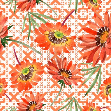 Photo for Watercolor orange gazania flowers. Floral botanical flower. Seamless background pattern. Fabric wallpaper print texture. Aquarelle wildflower for background, texture, wrapper pattern, frame or border. - Royalty Free Image