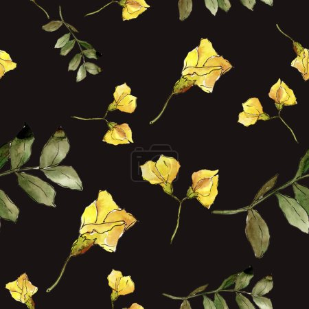 Watercolor yellow acacia leaf. Leaf plant botanical garden floral foliage. Seamless background pattern. Fabric wallpaper print texture. Aquarelle leaf for background, texture, wrapper pattern.