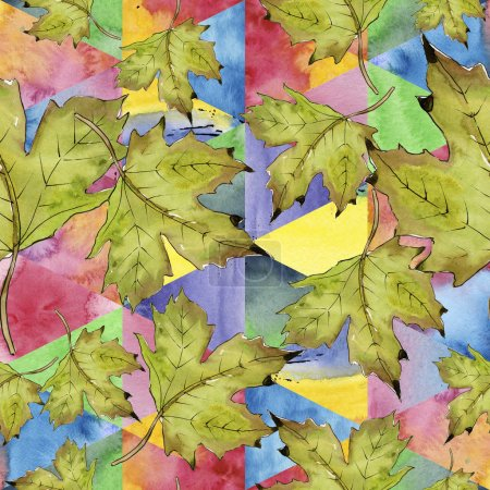 Photo for Watercolor green and red maple leaves. Leaf plant botanical garden floral foliage. Seamless background pattern. Fabric wallpaper print texture. Aquarelle leaf for background, texture, wrapper pattern. - Royalty Free Image