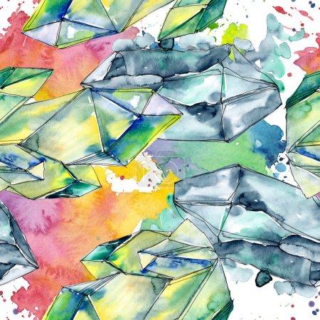 Photo pour Diamant coloré bijoux en pierre minérale. Modèle de fond sans couture. Texture d'impression de papier peint tissu. Géométrique quartz polygone cristal pierre forme mosaïque améthyste gemme . - image libre de droit