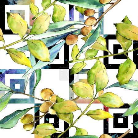 Photo pour Aquarelle elaeagnus feuilles vertes. Feuillage floral de jardin botanique de plante de feuille. Modèle de fond sans couture. Texture d'impression de papier peint tissu. Feuille Aquarelle pour fond, texture, motif enveloppant . - image libre de droit