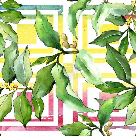 Photo for Watercolor elaeagnus green leaves. Leaf plant botanical garden floral foliage. Seamless background pattern. Fabric wallpaper print texture. Aquarelle leaf for background, texture, wrapper pattern. - Royalty Free Image