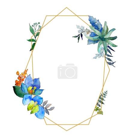 Photo pour Aquarelle fleurs bleues et violettes. Fleur botanique florale. Élément d'illustration isolé. Aquarelle fleur sauvage pour fond, texture, motif d'emballage, cadre ou bordure . - image libre de droit